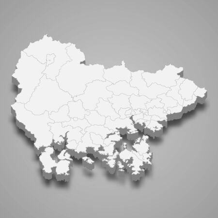 3d map of South Gyeongsang province is a region of South Korea  イラスト・ベクター素材