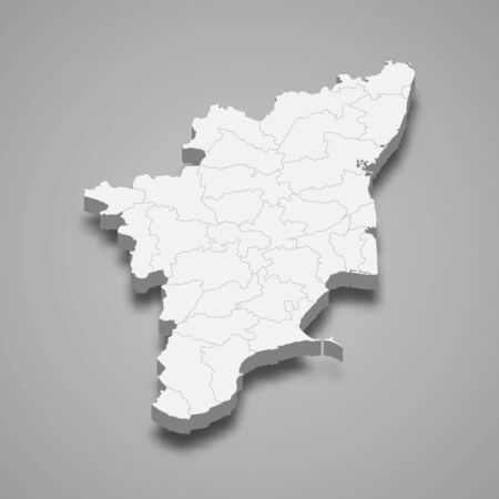 3d map of Tamil Nadu is a state of India