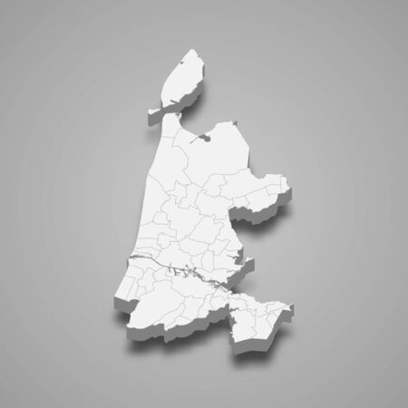 3d map of North Holland is a province of Netherlands
