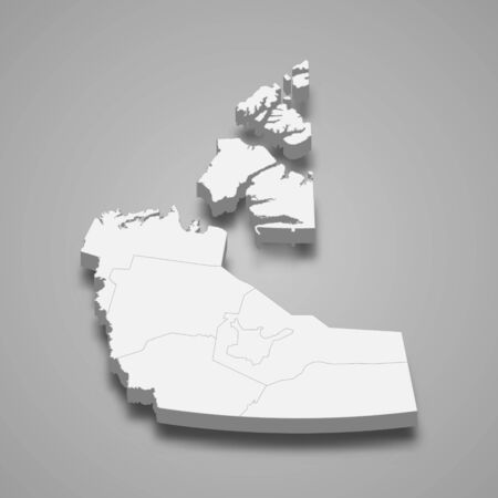 3d map of Northwest Territories is a province of Canada 矢量图像