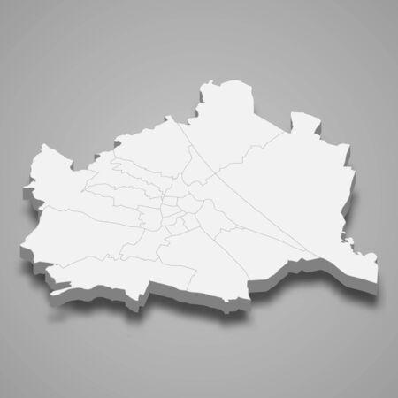 3d map of Vienna is a capital of Austria Vektorgrafik