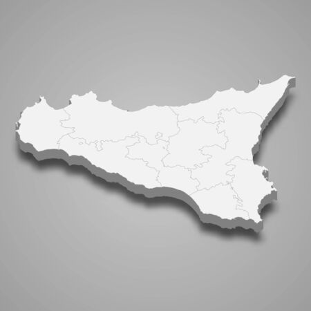 3d map of Sicily is a region of Italy