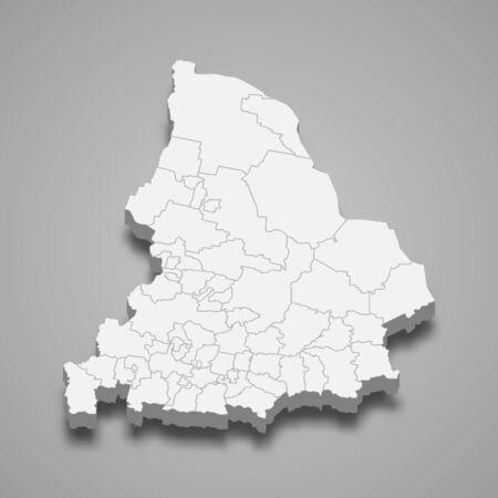 3d map of Sverdlovsk Oblast is a region of Russia