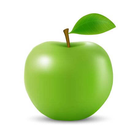 Realistic 3d green apple Isolated On White Background Vettoriali