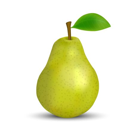 realistic 3d green pear isolated on white background