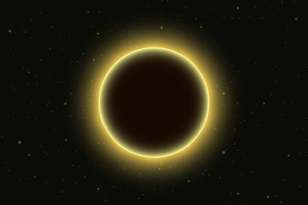 Space glow light background with total solar eclipse Ilustração