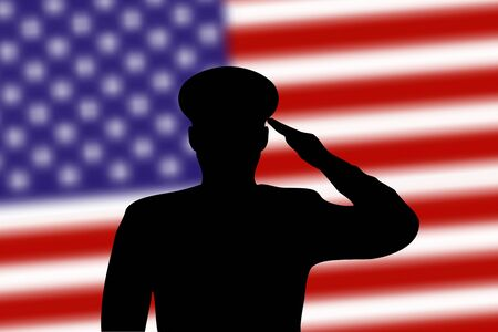 Solder silhouette on blur background with United States flag. Template for memorial day