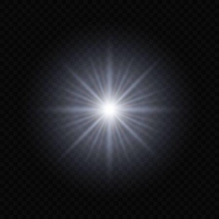 Sun light flash with lens flare effect on transparent background Vektorové ilustrace