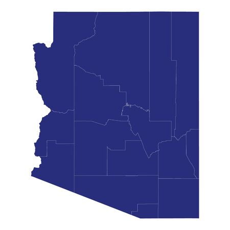 High Quality map of Arizona is a state of United States of America with borders of the counties Banque d'images - 150164626