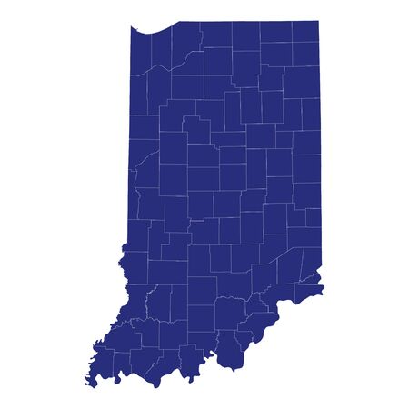 High Quality map of Indiana is a state of United States of America with borders of the counties