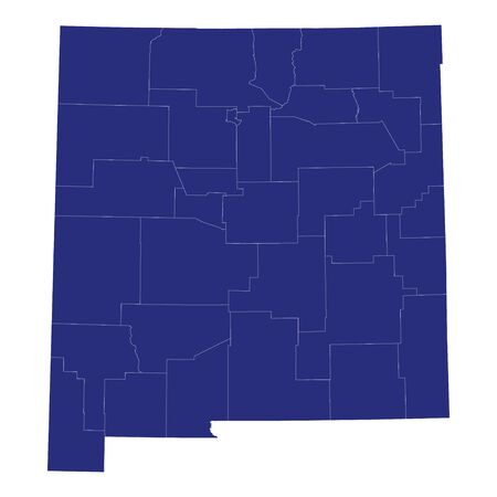 High Quality map of New Mexico is a state of United States of America with borders of the counties Banque d'images - 150164640