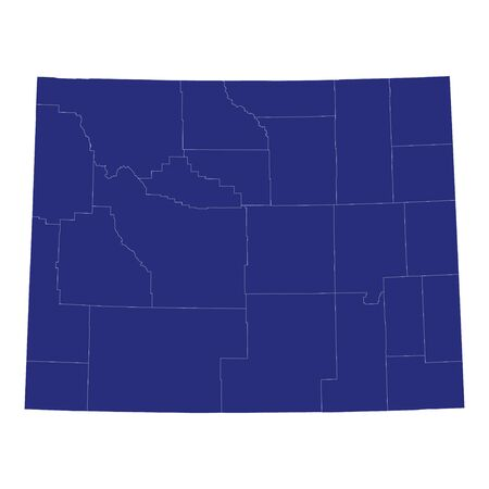 High Quality map of Wyoming is a state of United States of America with borders of the counties