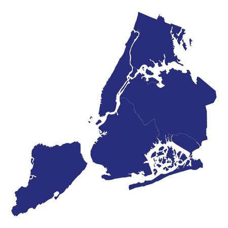 High Quality map of New York is a city of United States of America with borders of the counties