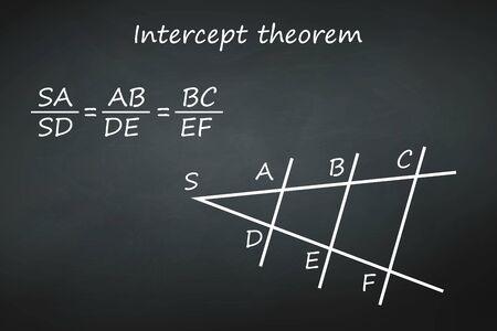 Intercept theorem on chalkboard vector