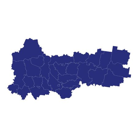 High Quality map of Vologda Oblast is a region of Russia with borders of the districts