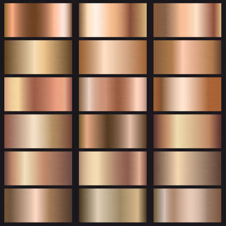 Set of rose gold gradients texture. Template for your design Ilustracja