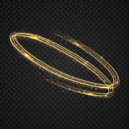 Vector circle golden light tracing effect. Template for your design  イラスト・ベクター素材