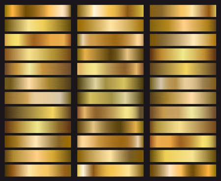 Set of gold gradient texture. Template for your design  イラスト・ベクター素材