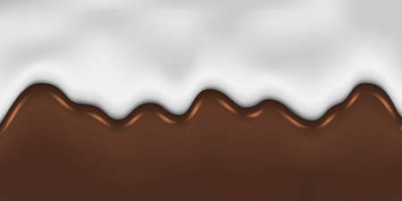 Dripping Melted Chocolate and Milk Background Template for your design