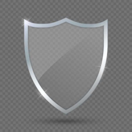 glass shield on transparent background, protect icon. Template for your design  イラスト・ベクター素材
