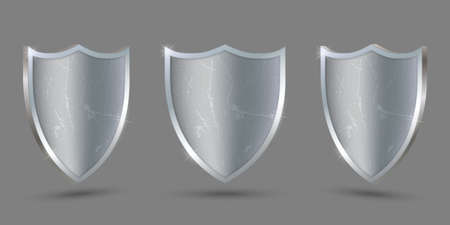 Metal shield on transparent background, protect icon. Template for your design