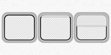 Realistic train transparent window isolated vector illustration