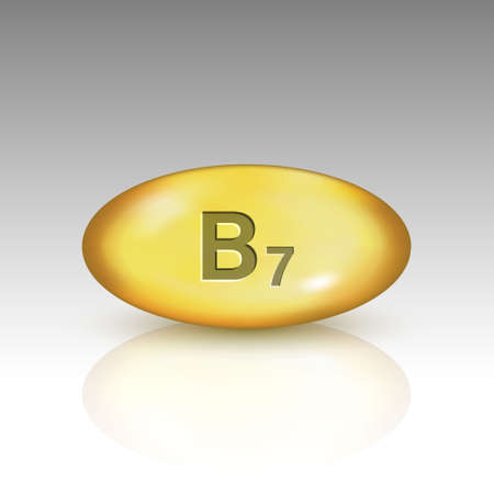 Vitamin B7. vitamin drop pill Template for your design