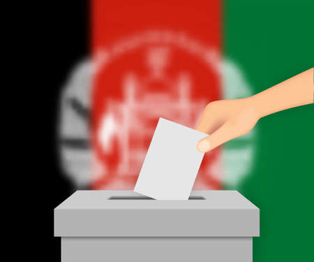 Afghanistan vote election banner background. Ballot Box with blurred flag