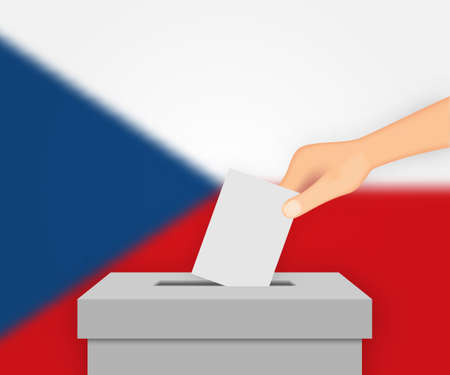 Czech Republic vote election banner background. Ballot Box with blurred flag 向量圖像