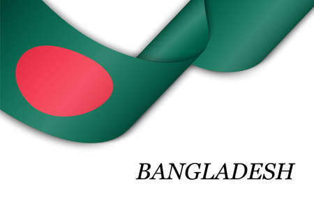 Waving ribbon or banner with flag of Bangladesh. Template for independence day poster design