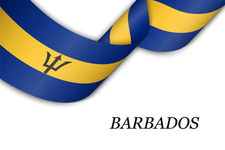 Waving ribbon or banner with flag of Barbados. Template for independence day poster design 向量圖像