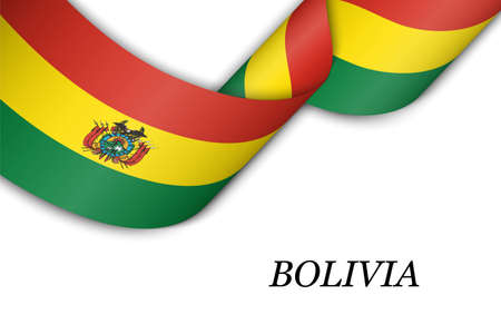 Waving ribbon or banner with flag of Bolivia. Template for independence day poster design 向量圖像