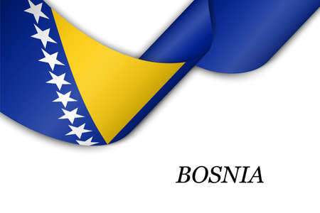 Waving ribbon or banner with flag of Bosnia. Template for independence day poster design 向量圖像