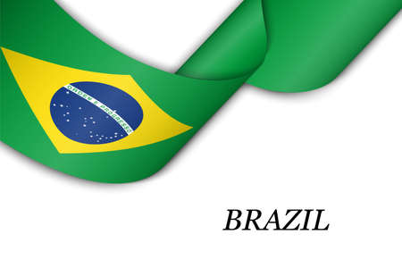 Waving ribbon or banner with flag of Brazil. Template for independence day poster design