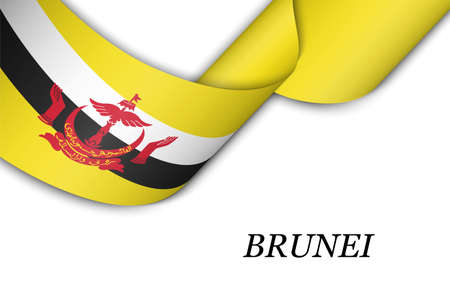 Waving ribbon or banner with flag of Brunei. Template for independence day poster design