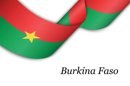 Waving ribbon or banner with flag of Burkina Faso. Template for independence day poster design Illusztráció