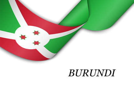 Waving ribbon or banner with flag of Burundi. Template for independence day poster design 向量圖像