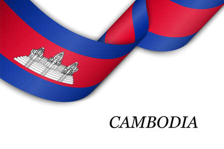 Waving ribbon or banner with flag of Cambodia. Template for independence day poster design