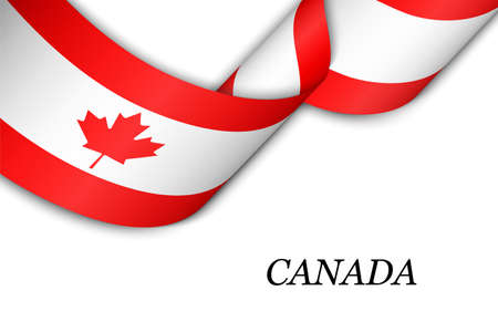 Waving ribbon or banner with flag of Canada. Template for independence day poster design Illusztráció