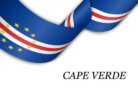 Waving ribbon or banner with flag of Cape Verde. Template for independence day poster design
