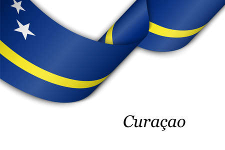Waving ribbon or banner with flag of Curacao. Template for independence day poster design