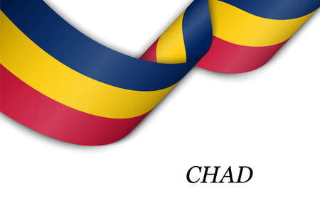 Waving ribbon or banner with flag of Chad. Template for independence day poster design 向量圖像