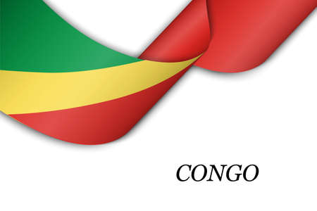 Waving ribbon or banner with flag of Congo. Template for independence day poster design