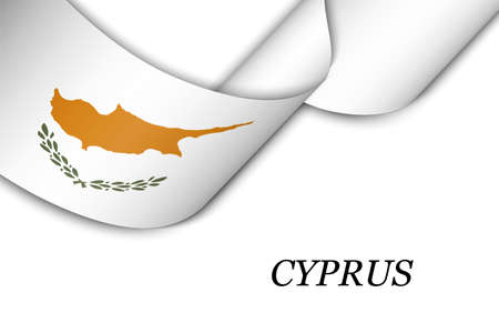 Waving ribbon or banner with flag of Cyprus. Template for independence day poster design Illusztráció