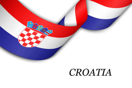 Waving ribbon or banner with flag of Croatia. Template for independence day poster design