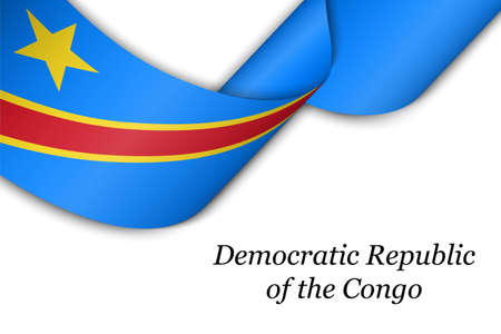 Waving ribbon or banner with flag of Democratic Republic Congo. Template for independence day poster design