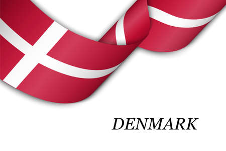 Waving ribbon or banner with flag of Denmark. Template for independence day poster design