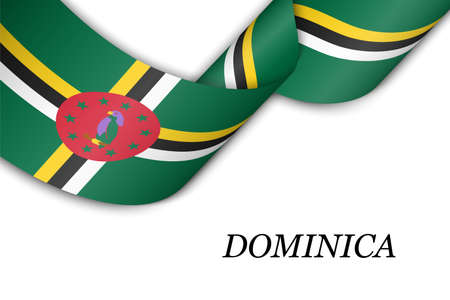 Waving ribbon or banner with flag of Dominica. Template for independence day poster design