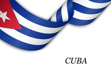 Waving ribbon or banner with flag of Cuba. Template for independence day poster design