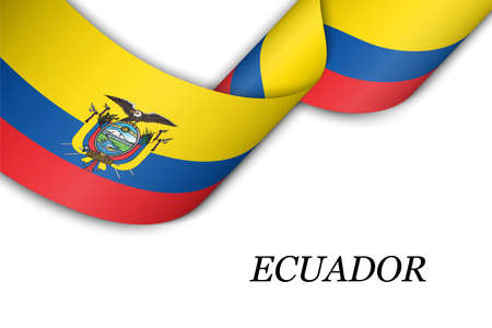 Waving ribbon or banner with flag of Ecuador. Template for independence day poster design